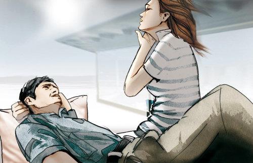 情侣浪漫享受的插图