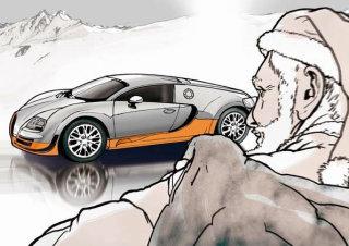 Drawing of santa looking at car