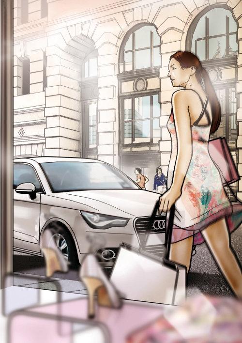女人走在街上的插图情节提要