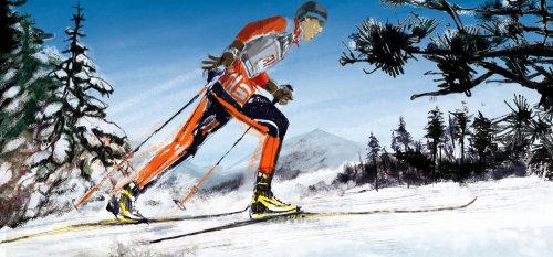 男子滑雪的插图