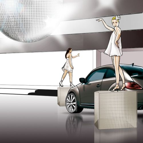 Storyboard of car display showroom