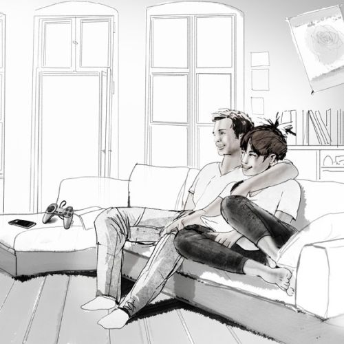 Illustration of couple watching Television