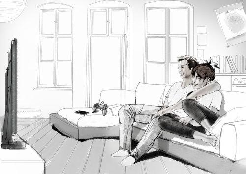 夫妇看电视的插图