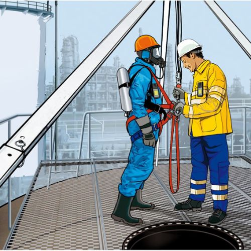Storyboard of a man suiting up for Oil rig