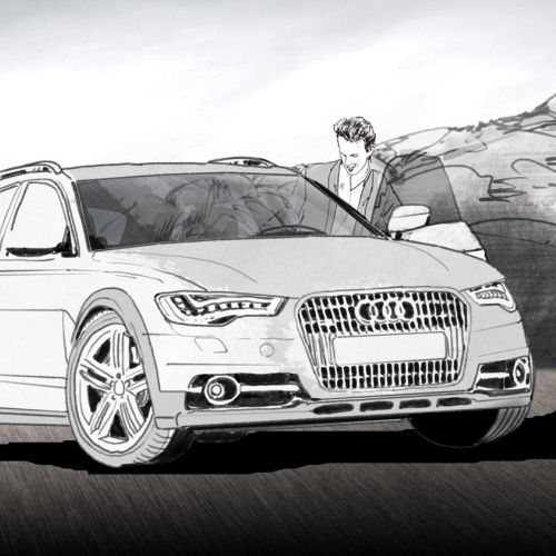 Black and white storyboard of Audi car