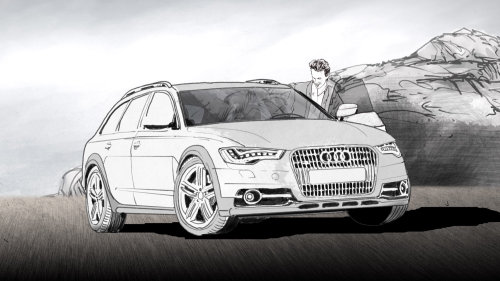 Storyboard preto e branco do carro Audi