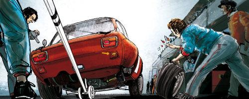 赛车轮胎更换的故事板