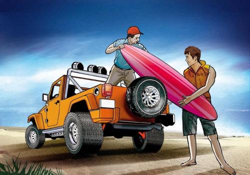 青少年准备冲浪的故事板