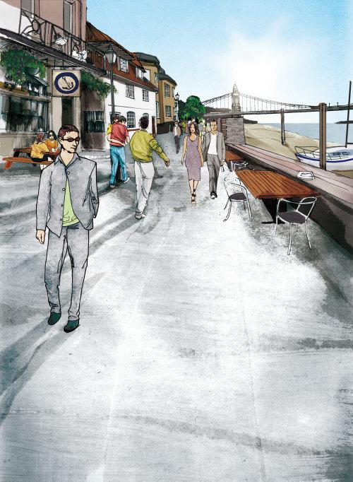 人走在街上的技术插图