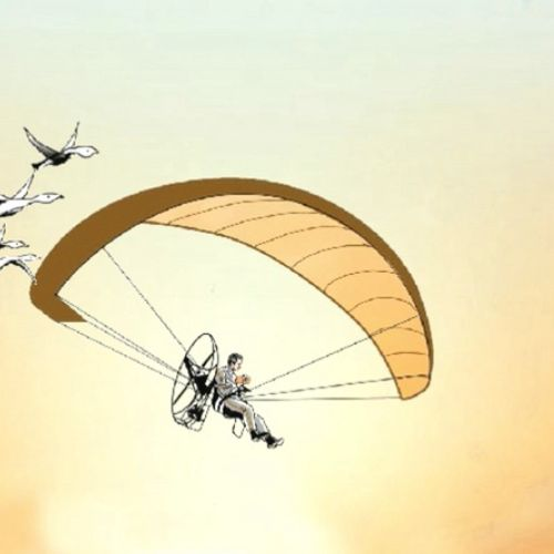 Animation of man paragliding over the city