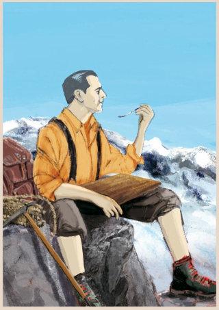 Man sitting on the mountain