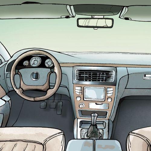 Techical illustration of car interior