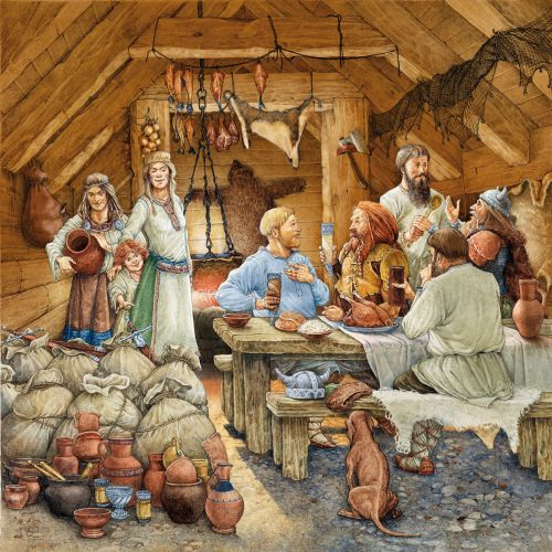 Russian Merchants by the viking historical watercolour art