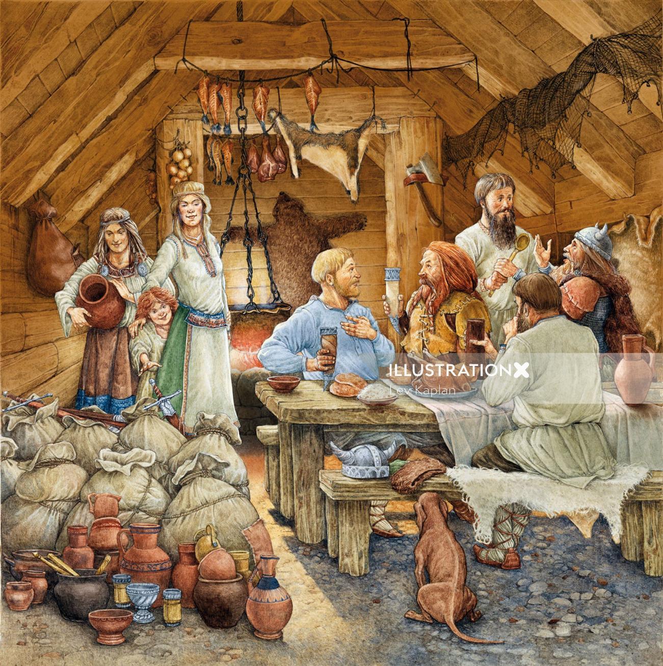 Russian Merchants by the viking historical watercolour art