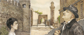 Artwork of an old city Baku