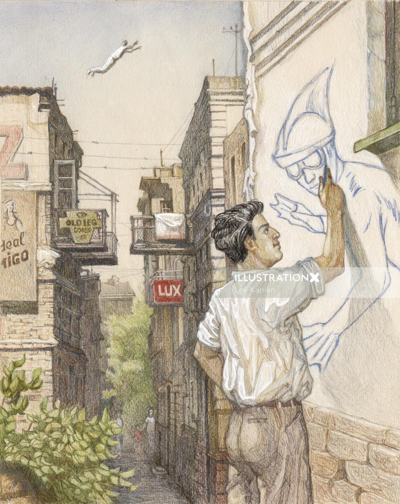 Man touching art on wall