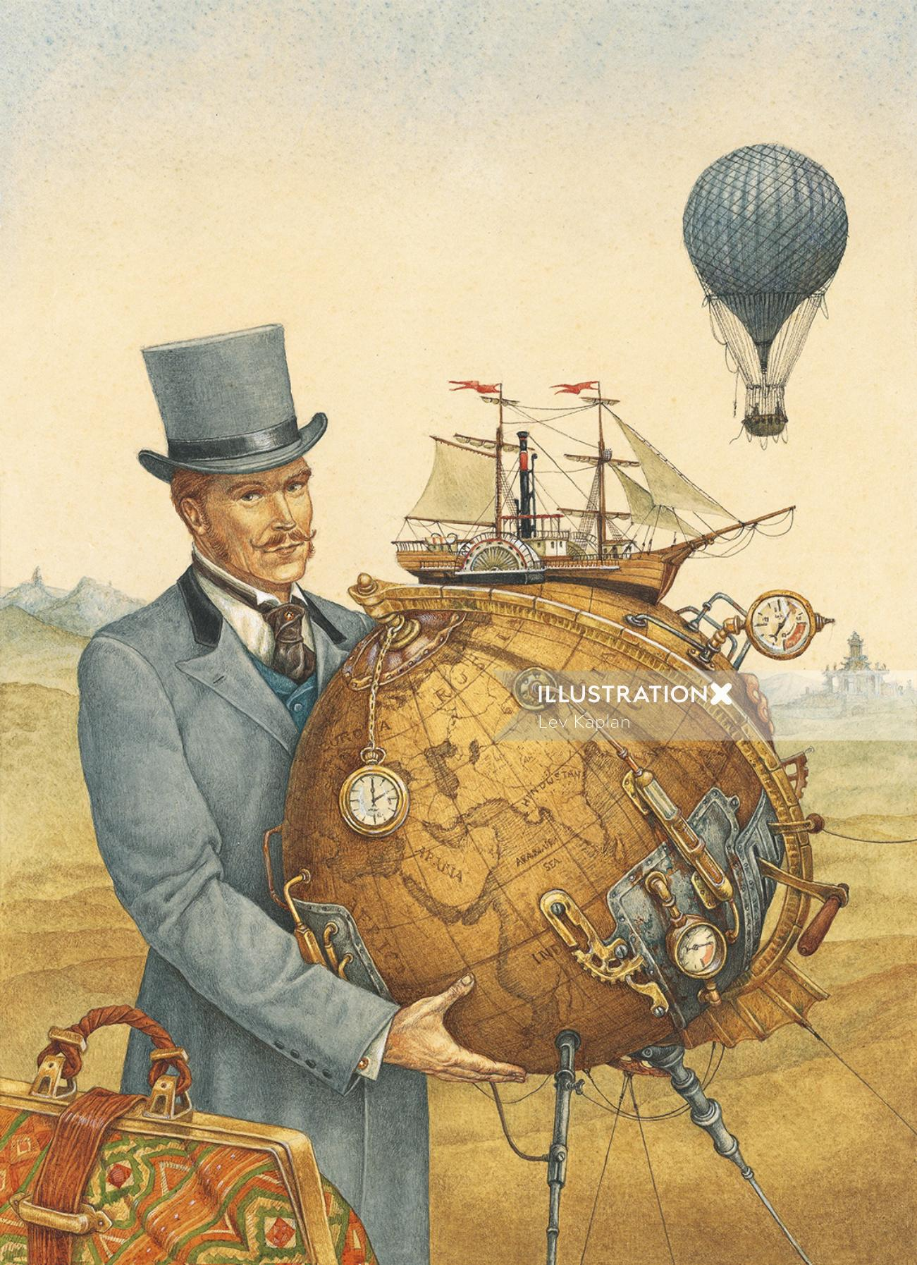 """illustration for """"Around the World in 80 Days"""""""