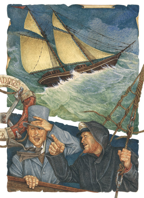 watercolor illustration of drowning boat