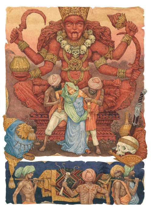 watercolor of goddess Kali in a sitting position