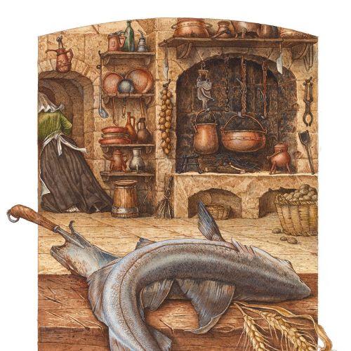 Died fish vintage artwork