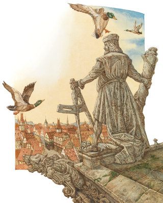 Illustration of the King and birds