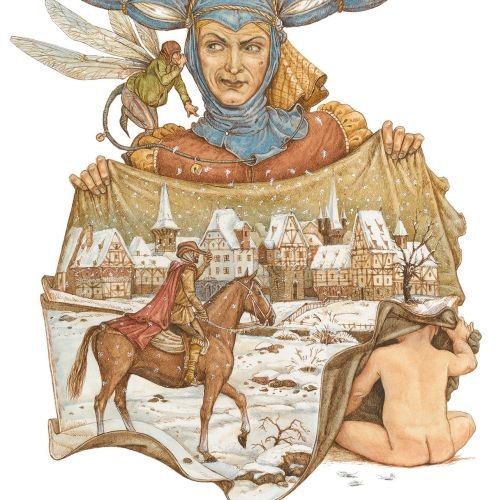 """illustration for the legend of """"Frau Holle"""""""