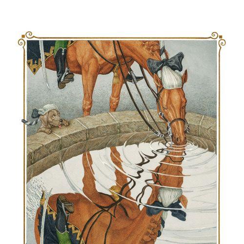 Vintage illustration of halved horse