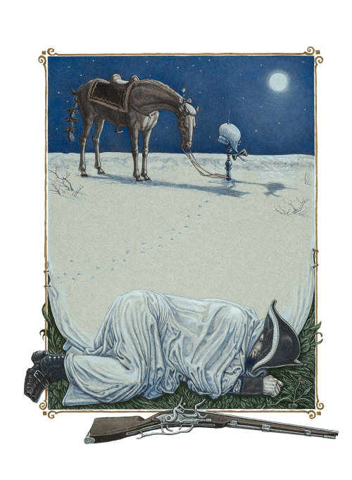 Man is sleeping in moonlight illustration