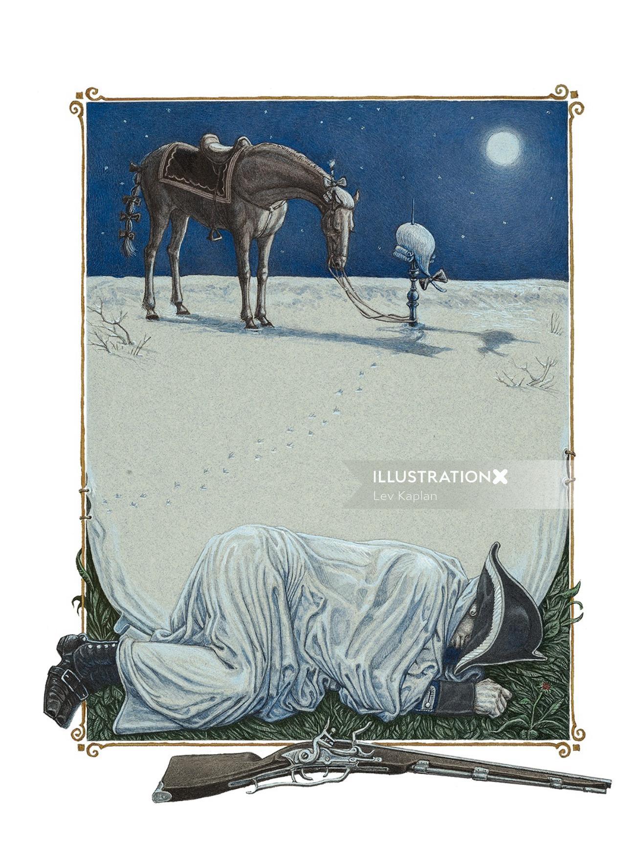 Man is sleeping in moonlight illustration