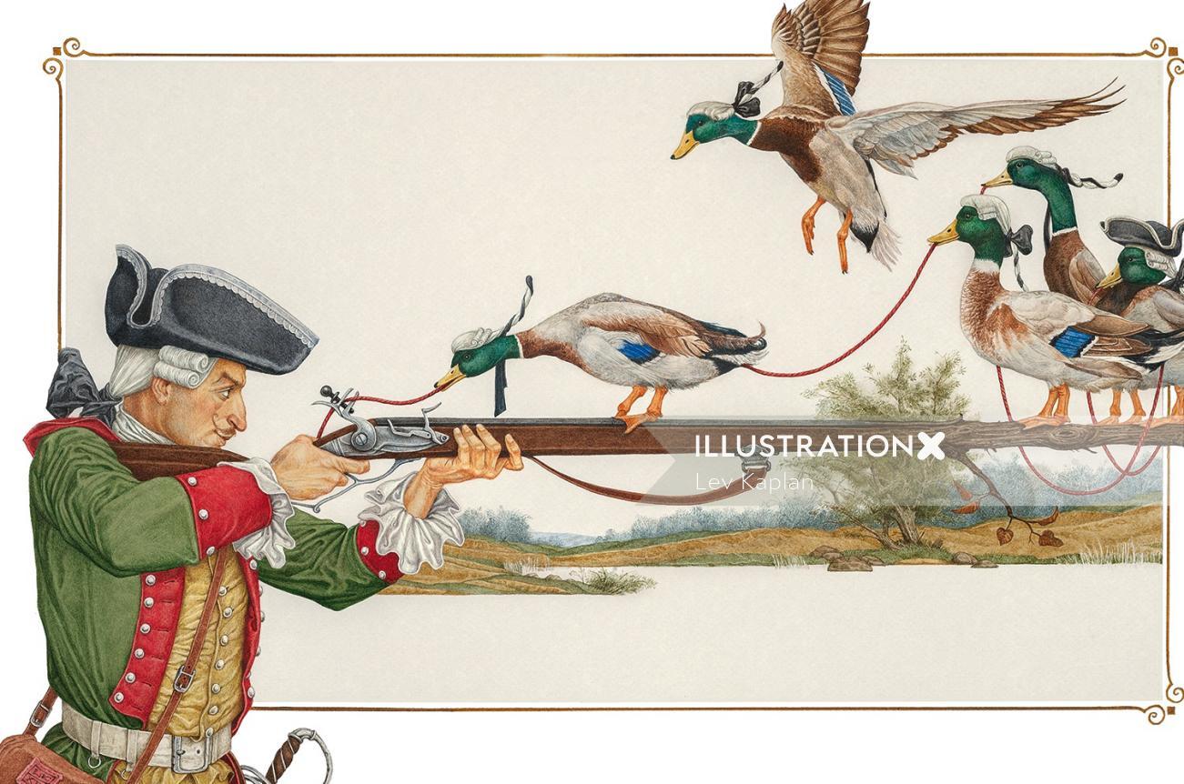 Birds on gun retro illustration