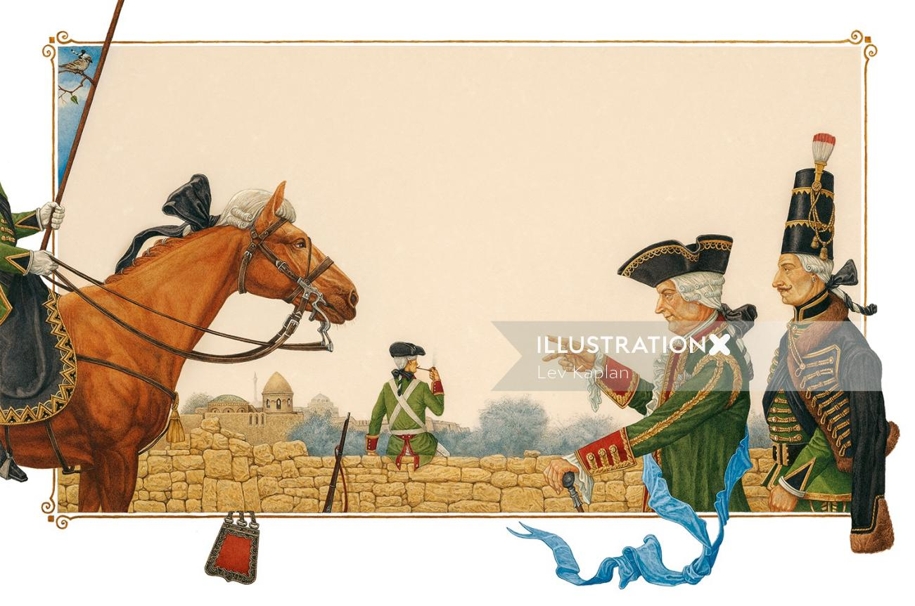 Watercolor illustration of horse and people