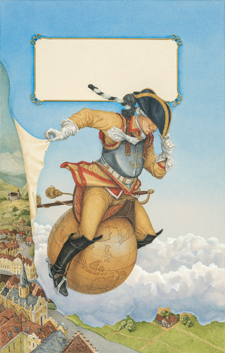 Retro illustration of man on globe