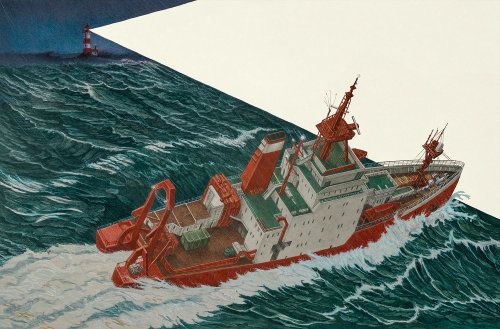 Illustration of drowning boat