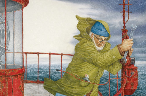 Old man on ship illustration