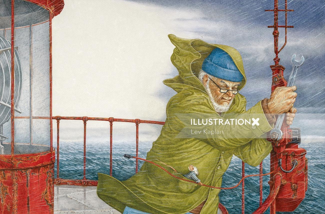 Old man on ship illustration