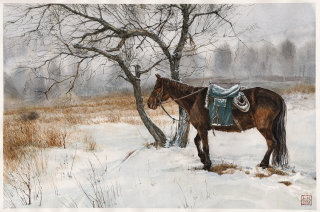 Vintage illustration of Horse in snow by