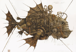 Steampunk fish illustration