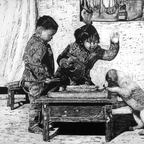 Pencil art of children playing