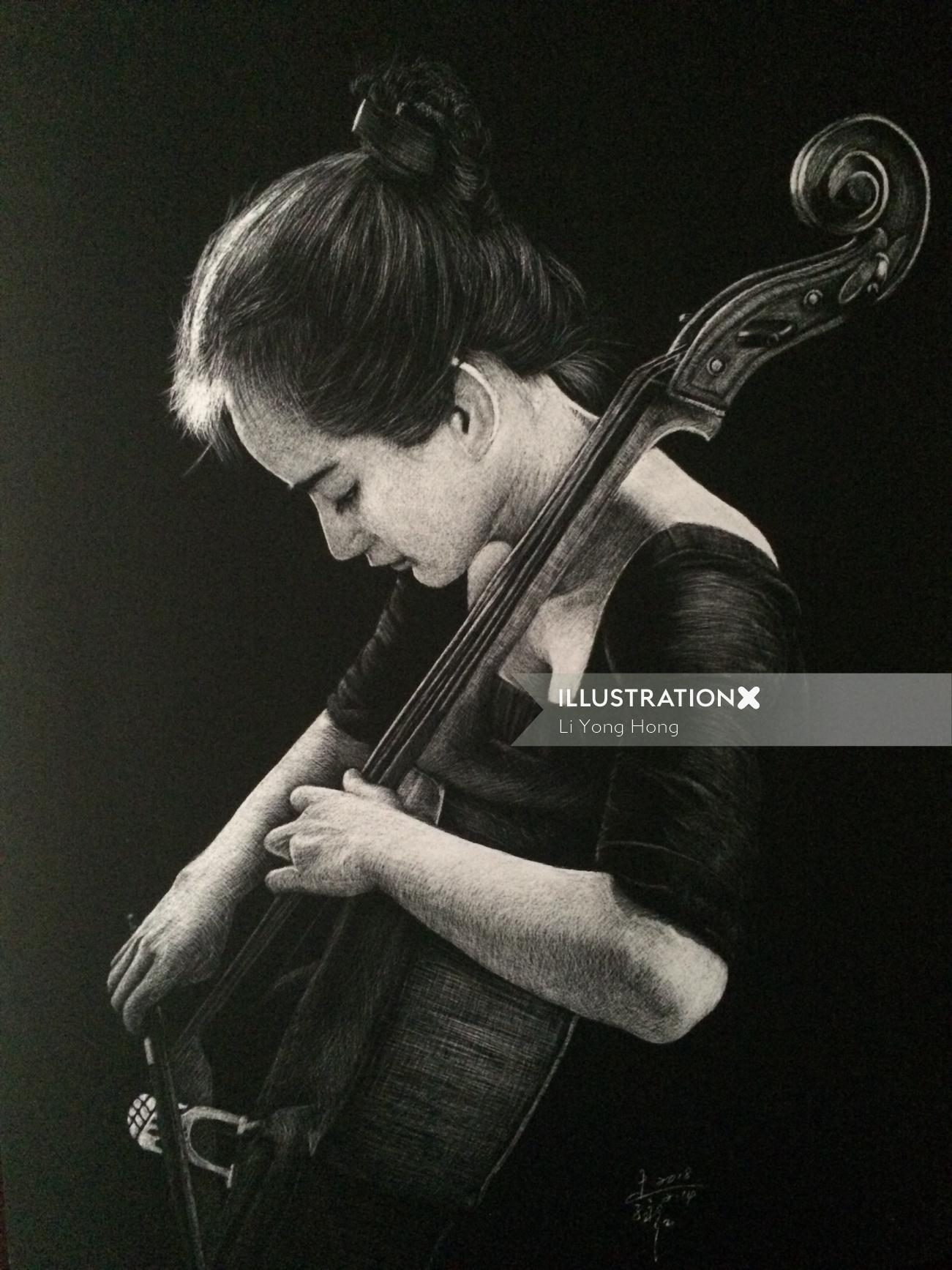 People illustration of girl playing violin