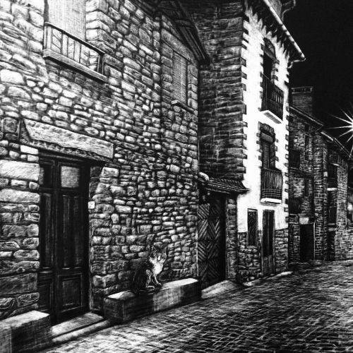 Black and white illustration of street