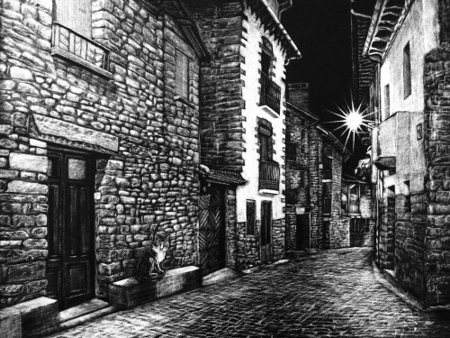 Black and white illustration of street