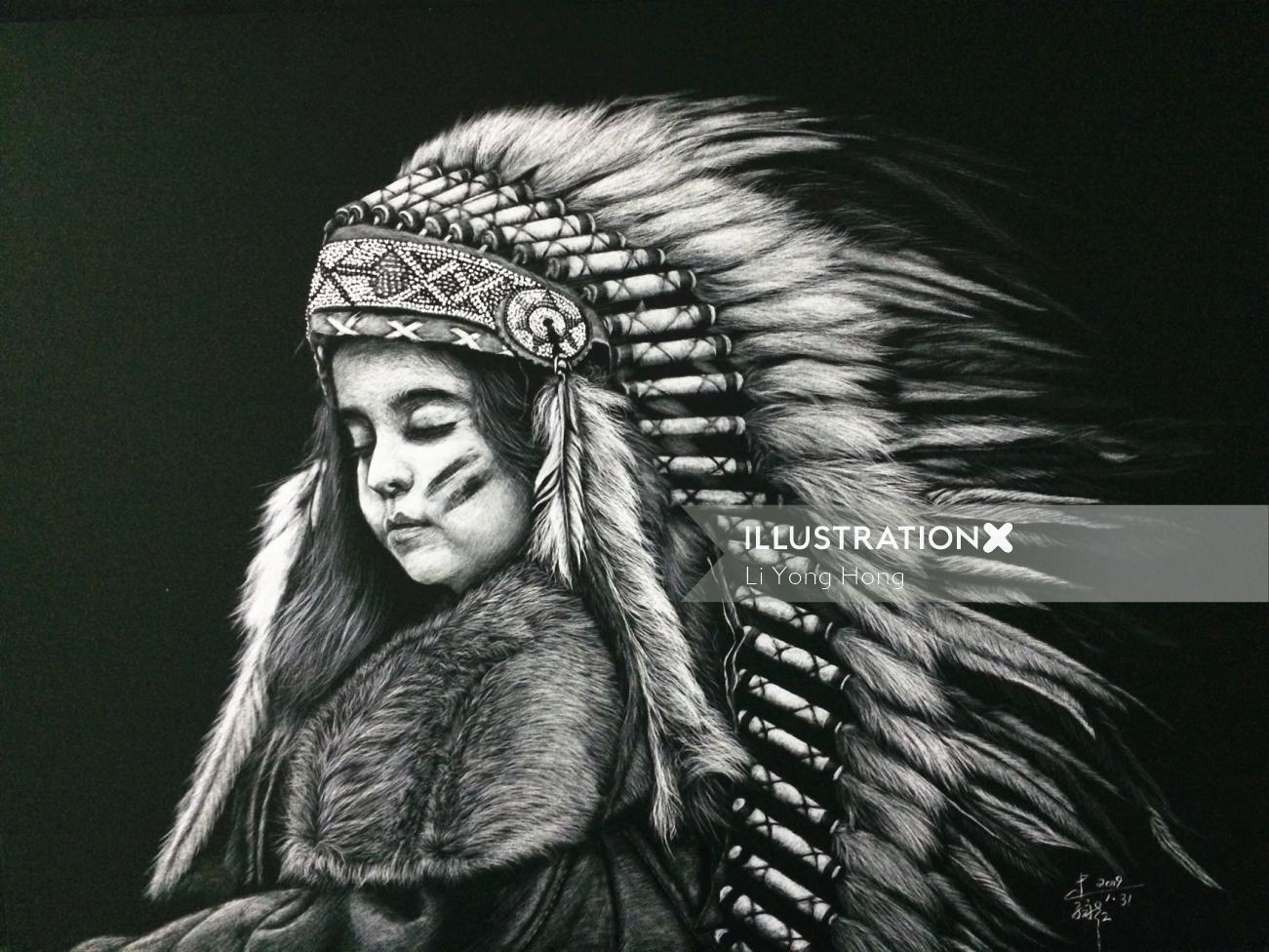 Fur Clothing black and white illustration
