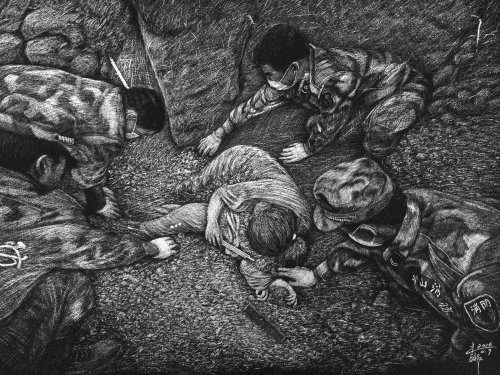 People illustration of soldiers helping