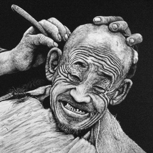 Black and white drawing of hair cutting