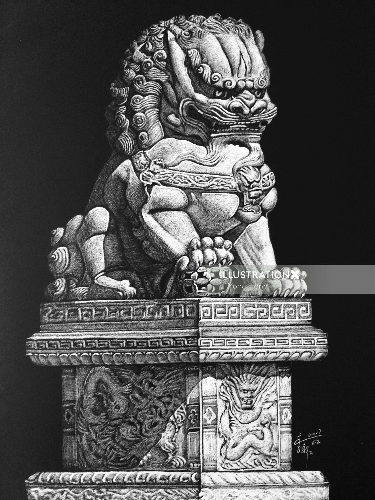 Lion statue black and white drawing
