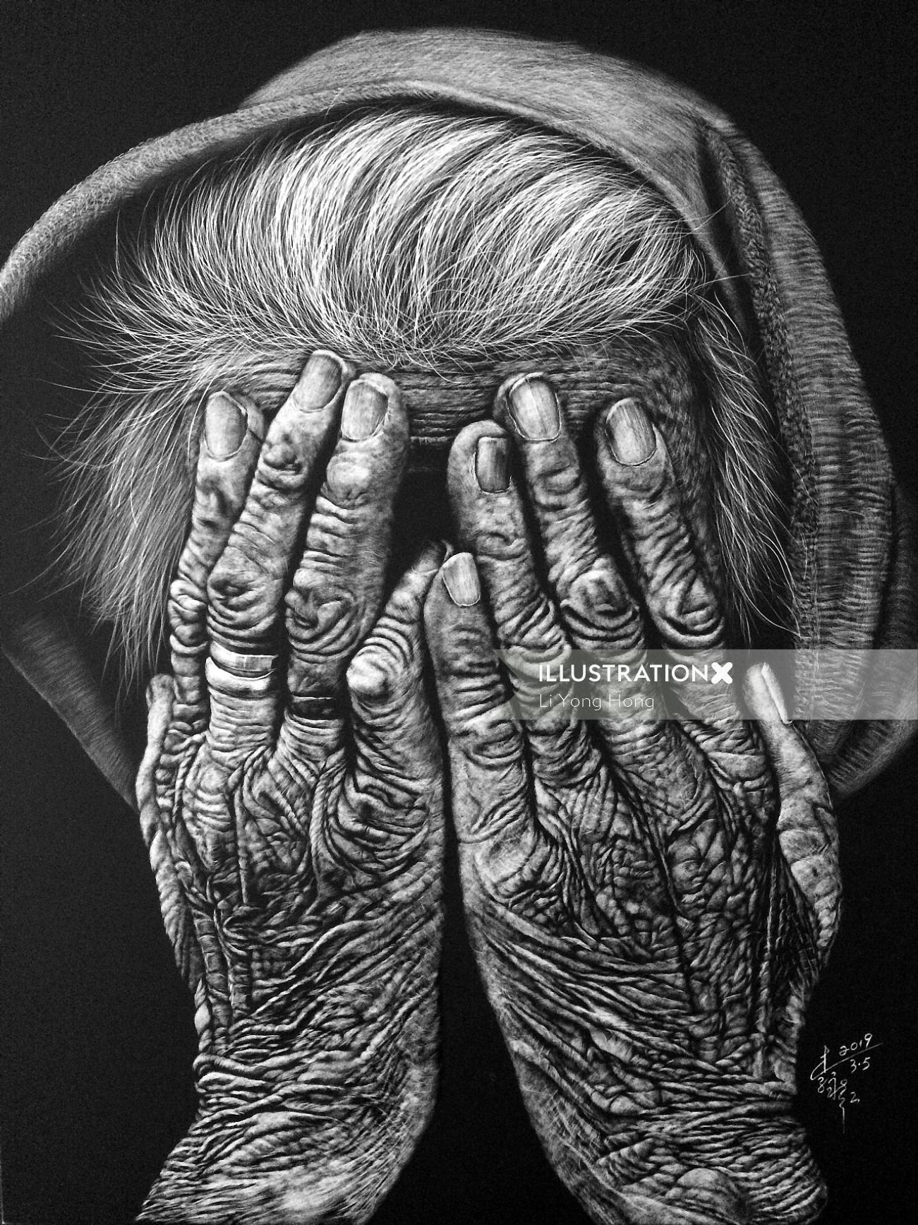 Old hands black and white illustration