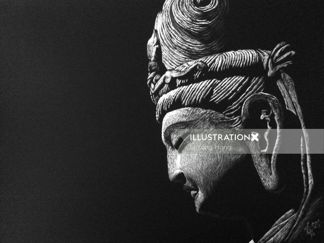 People illustration of statue of king