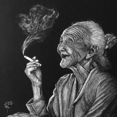 People illustration of smoking old women