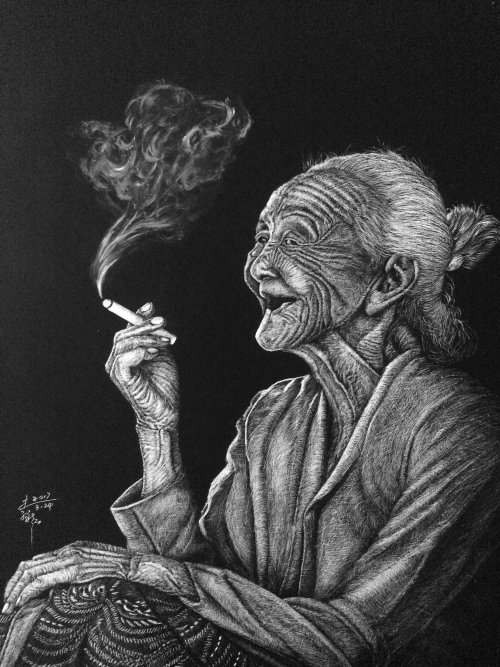 People illustration of smoking old women