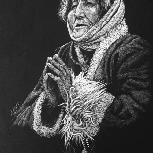 People illustration of praying women